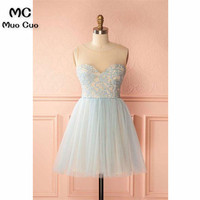 Simple 2018 A Line Sheer Lace Homecoming Dress Short Mini Homecoming Graduation Dresses with Appliques Tulle Cocktail Dresses