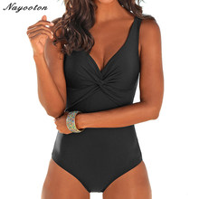 New push up Plus Size One Piece Swimsuit Women Retro Vintage fold Bathing Suits Beachwear soild color Monokini SwimWear 4XL(China)