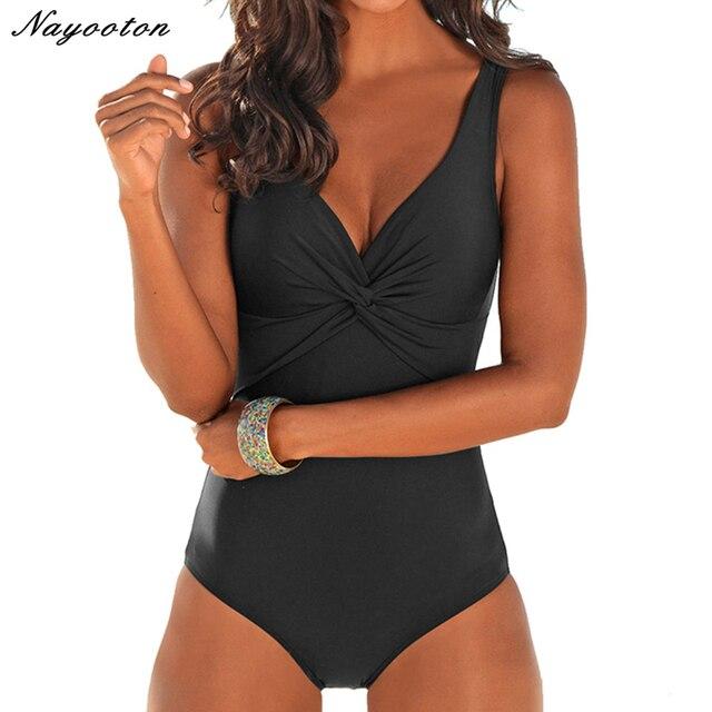 74a514000ac New push up Plus Size One Piece Swimsuit Women Retro Vintage fold Bathing  Suits Beachwear soild color Monokini SwimWear 4XL
