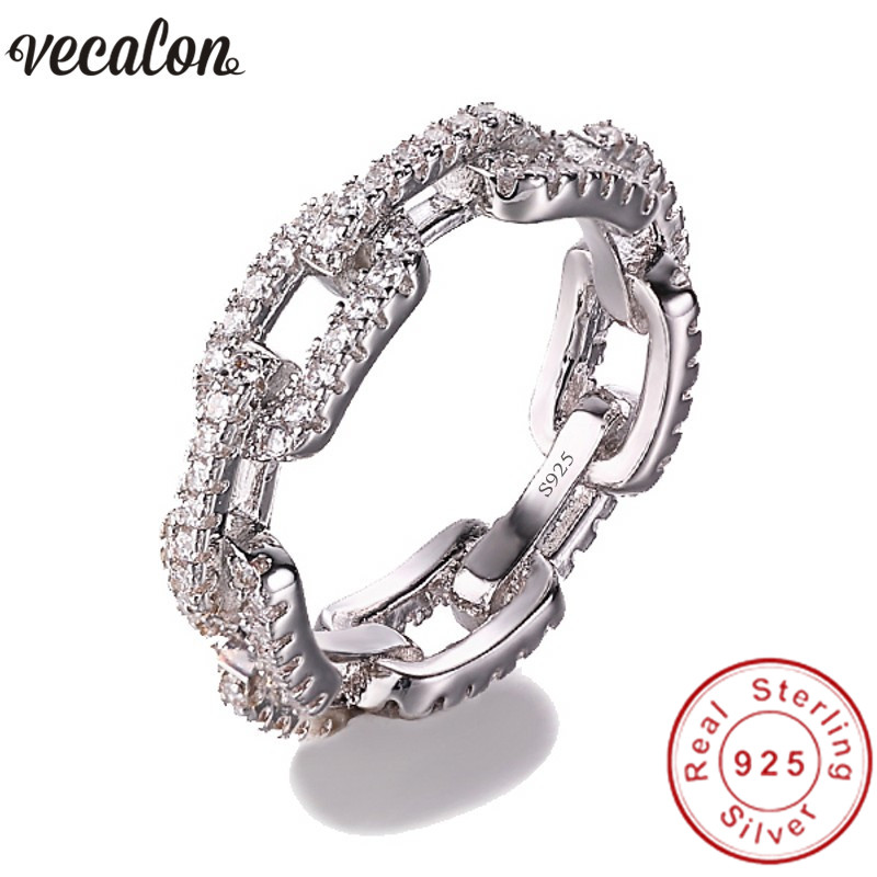 Vecalon Luxury Jewelry 100% Soild 925 Sterling Silver ring 5A Zircon Cz Chain Shape Engagement wedding Band rings for women men men wedding band cz rings jewelry silver color anillos bague aneis ringen promise couple engagement rings for women