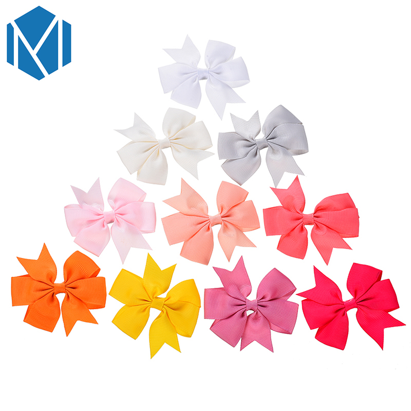 M MISM 40pcs lot 3 3inch Children Hair Bow Tie Colorful Hairpins Girls Headwear Ribbon Bowknot Hair Clip Hair Accessories in Hair Accessories from Mother Kids