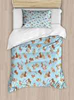 Dog Duvet Cover Set Checkered Square Pattern Background Playful Puppies Paw Print Golden Retriever Breed 4 Piece Bedding Set