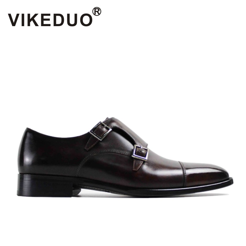 VIKEDUO 2017 Fashion Vintage Retro Handmade Mens Monk Shoes Luxury Party Wedding Shoes 100% Genuine Leather Buckle Hand Painted vikeduo luxury brand vintage retro handmade mens derby shoes brown fashion italy design wedding party shoes genuine leather