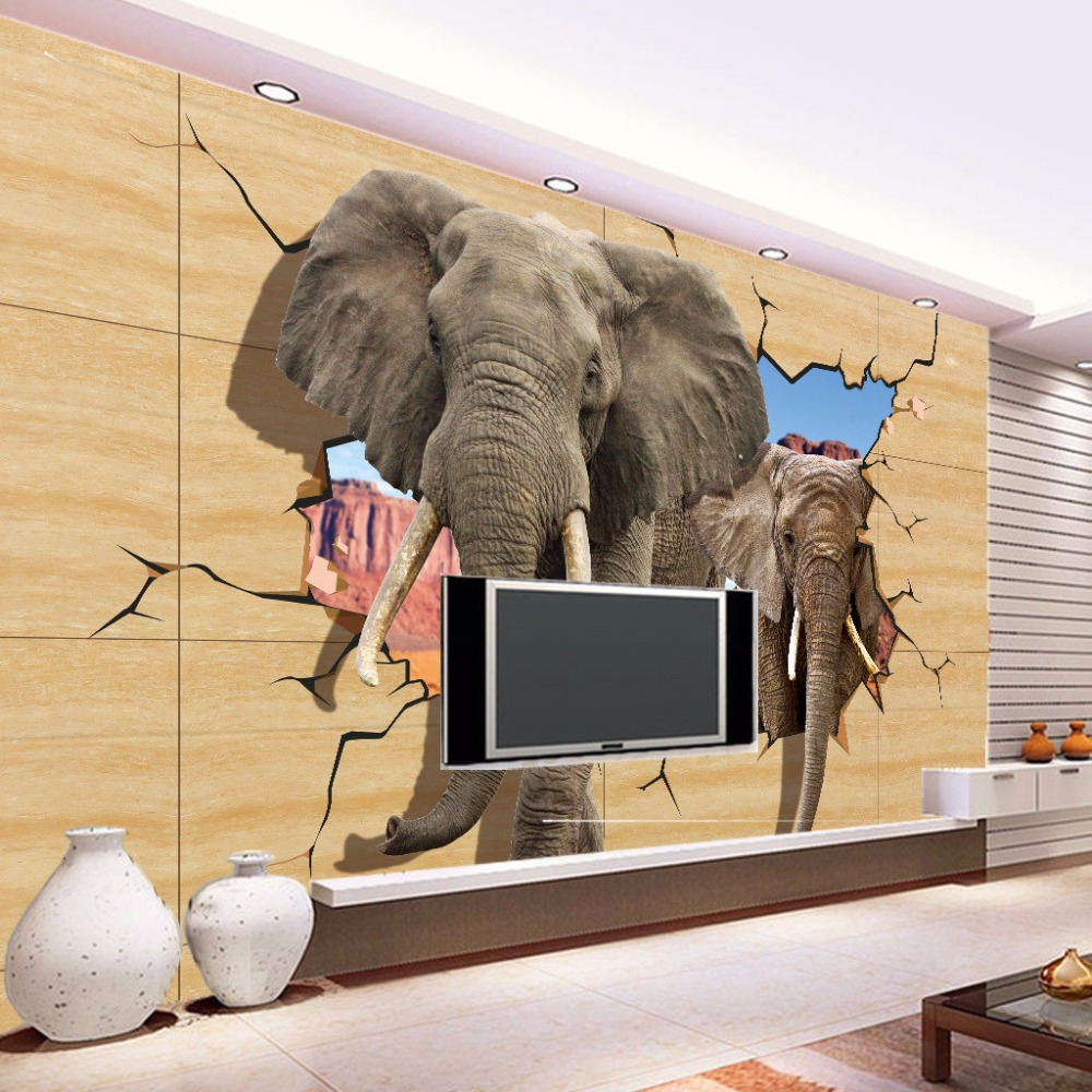 Popular elephant murals buy cheap elephant murals lots for Animal wall mural