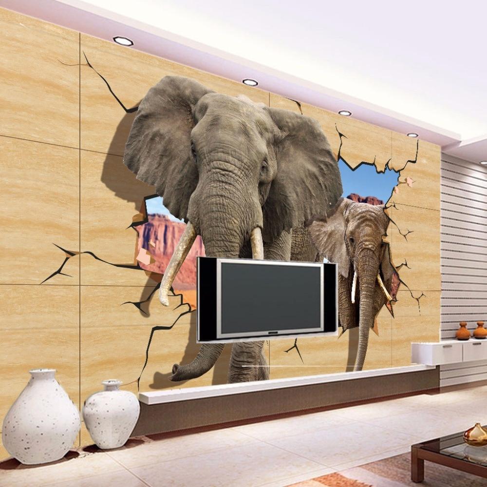 online get cheap elephant wall mural aliexpress com alibaba group custom 3d photo kids wallpaper lifelike animals wall mural elephant broken wall kids bedroom tv
