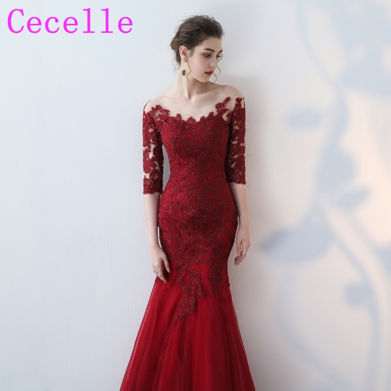 Formal Mermaid Long Red Burgundy   Bridesmaid     Dresses   With Half Sleeves Lace Appliques Tulle Country Rustic   Bridesmaid   Gowns 2019