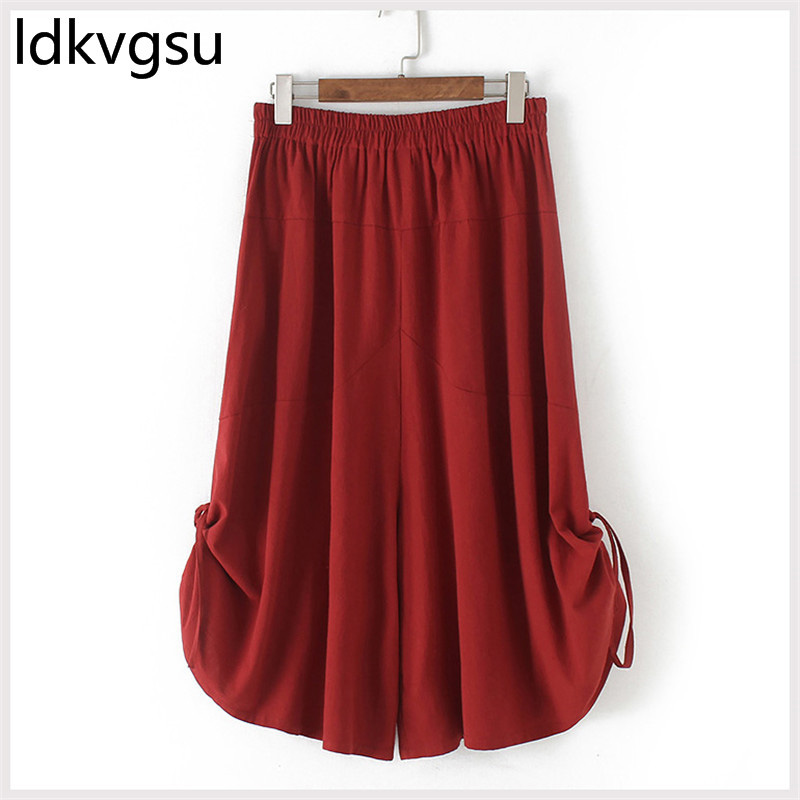 Solid Women   Pants   Summer   Capris   2019 Female Culottes New Crop Casual   Pants   Women Cotton and Linen Wide-leg   Pants   Plus Size f089
