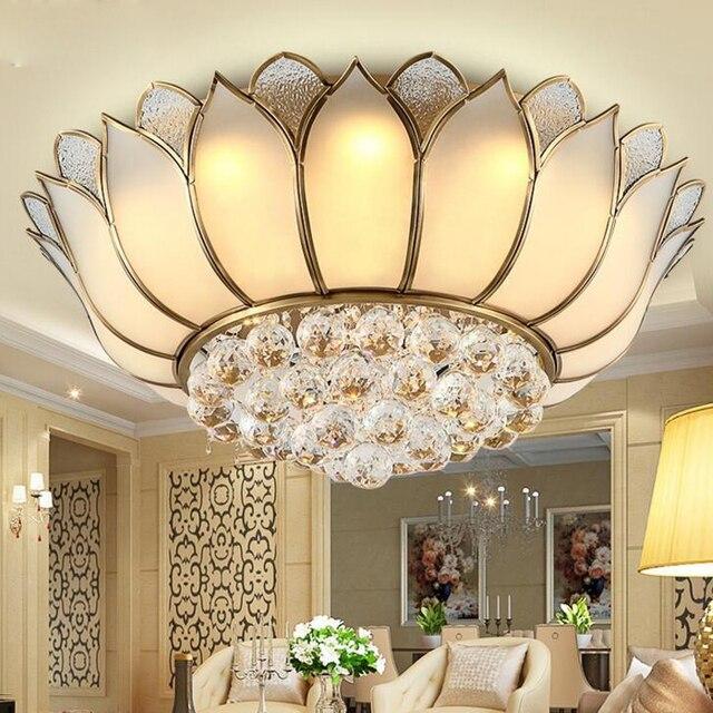 Europäischen kupfer kristall lampe led decke lampen wohnzimmer garten  schlafzimmer runde restaurant Lotus licht