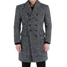Herringbone Cotton Coat Men 2017 Spring And Autumn New England Retro Large Lapel Long Wool Jacket Mens Large Size clothes S-5XL