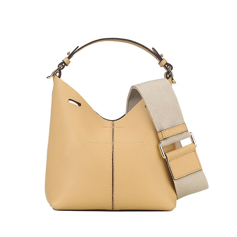[Hely Coptar] Genuine Leather Cow Korea Style Bucket Bags Lining Small Canvas Wide Shoulder Strap Summer