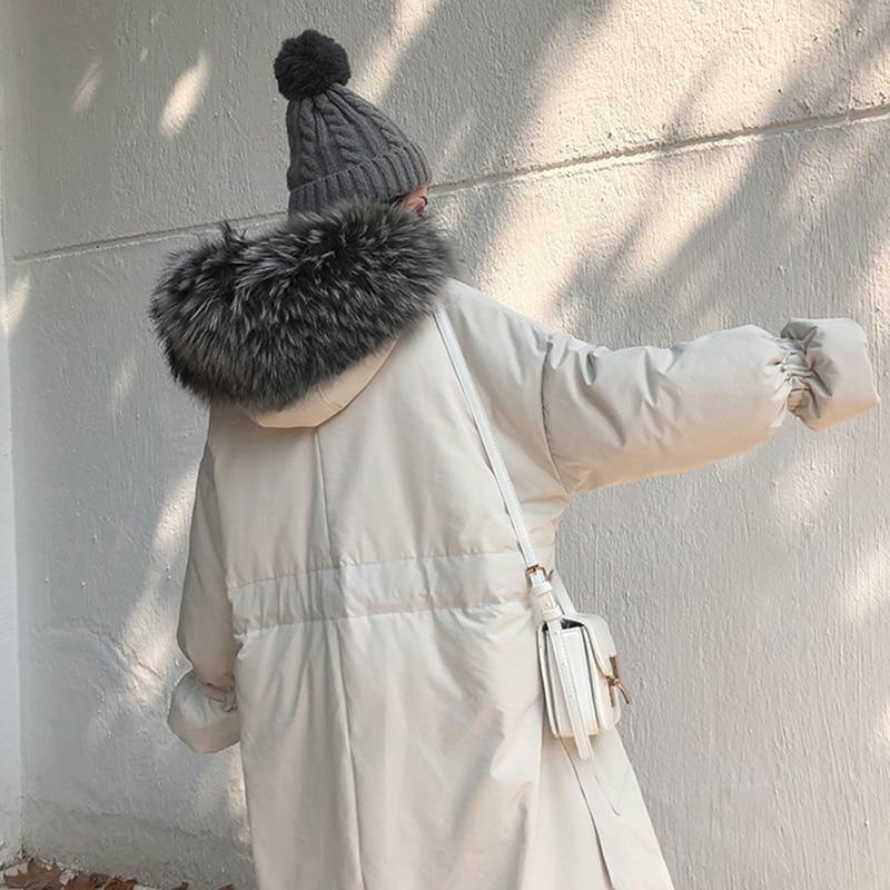 Hiver Mode black Nouveau Femmes Bas Coton Femme La Long Veste Taille À Hj178 Beige 2019 Le Fourrure Plus Vers Capuchon Col De Épais Lâche Vêtements Grand wrwOAx4q