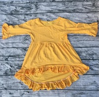 Latest Design Long Ruffle Sleeve Baby Cotton Frocks High Low Top Baby Frocks Blouse Cute Party