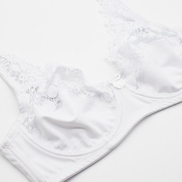 Women Floral Unlined Lace Bra Transparent Perspective Brassiere Sexy Lingerie Underwire Support Bralette Underwear Plus Size Bra 4