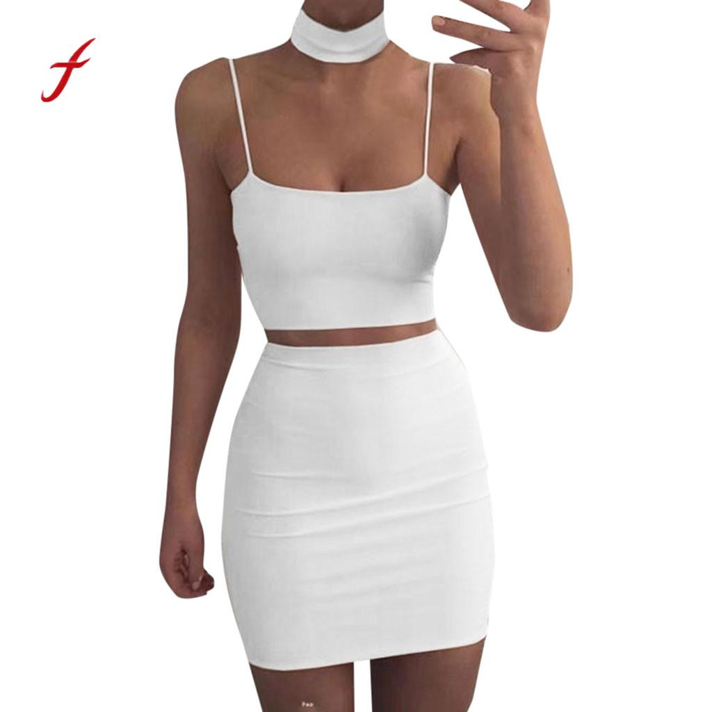 Women solid Sexy Two Piece Set Crop Top and Skirts Waist Bodycon  Suit Slim soft touch dresses summer new arrival 2019