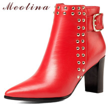 Meotina Genuine Leather Ankle Boots Women Buckle Square High Heel Short Real Rivets Zipper Shoes Lady Fall Red 39