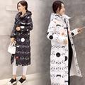 Parka com capuz de Algodão Para Baixo casaco Novo 2017 Design de Moda Inverno Padrão de Impressão do revestimento Das Mulheres Grosso Longo Das Mulheres Para Baixo Jaqueta Plus tamanho