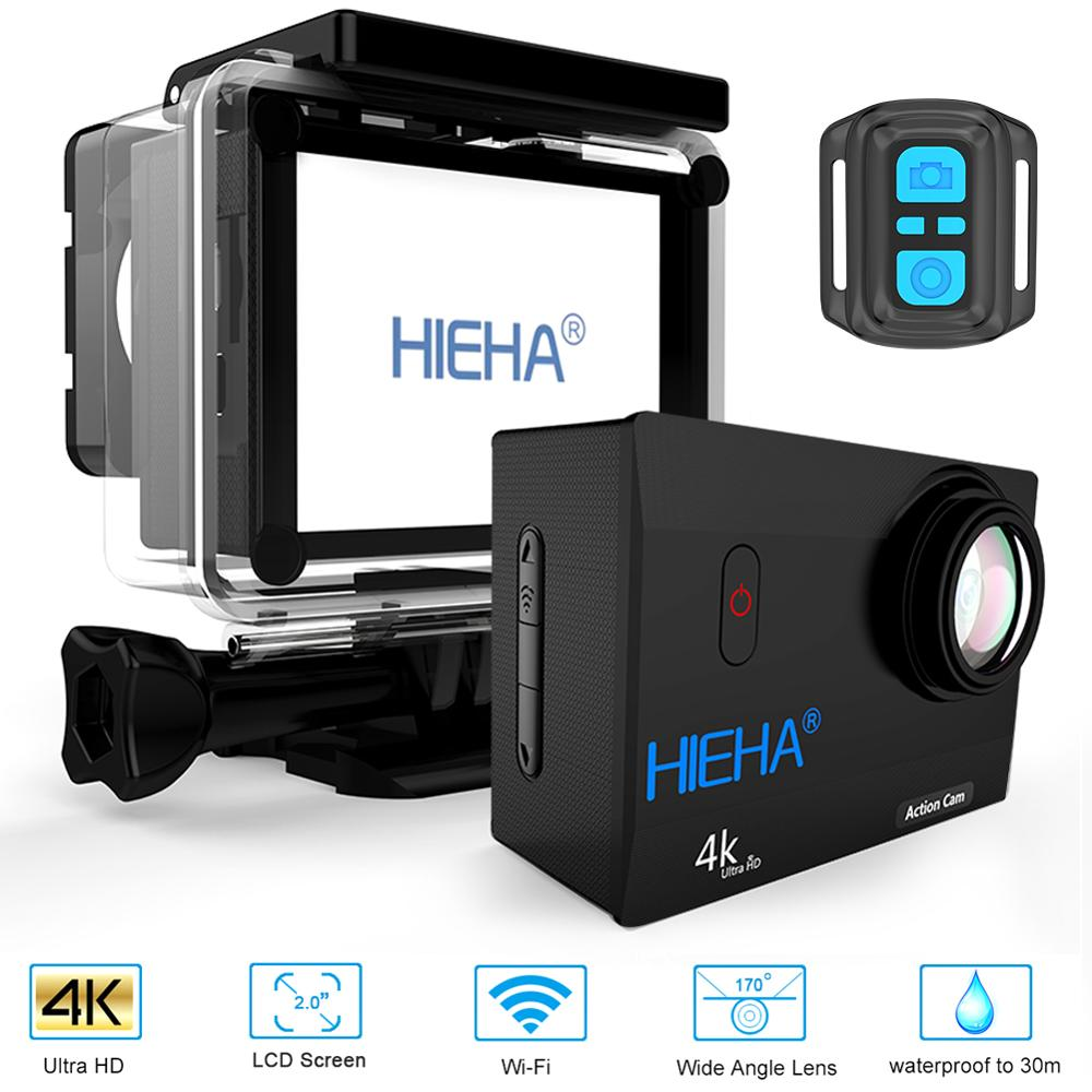 Hieha Action Camera 4K Waterproof 24fps 1080P 60fps Wifi HD Sport Cameras 2 0 LCD 170D