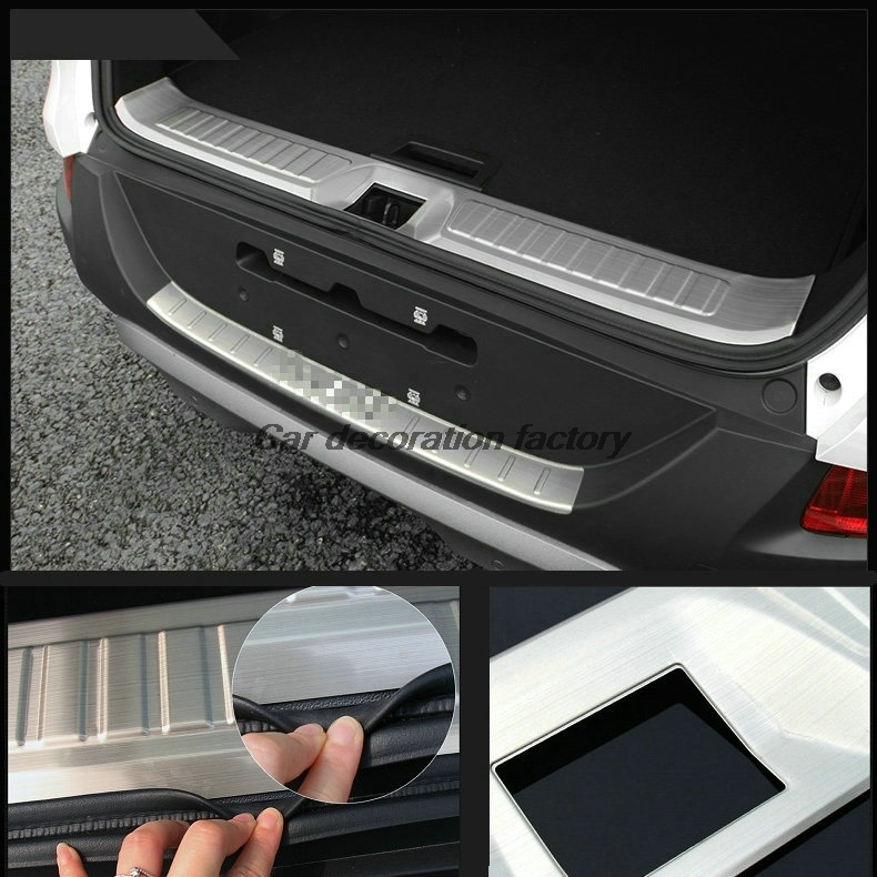 Car-styling stainless steel Car Rear Bumper Sill Protector Trim Cover Plate for Renault Kadjar 2015 2016 car styling cover detector stainless steel inner built rear bumper protector trim plate pedal 1pcs for su6aru outback 2015