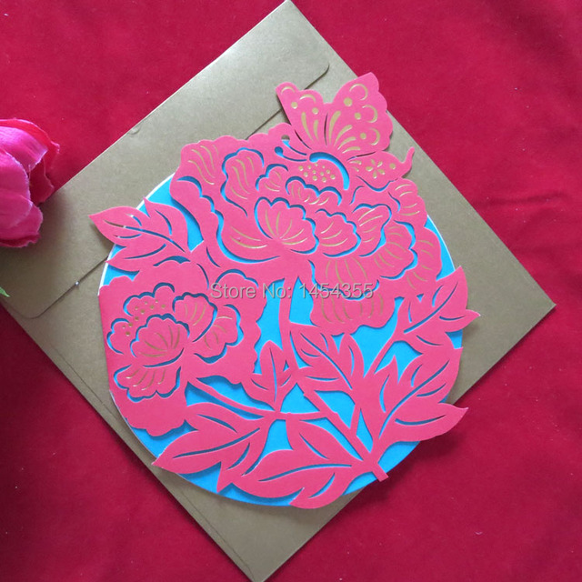 free shipping high quality chinese style new year cards wealth and rank flower cards laser cut
