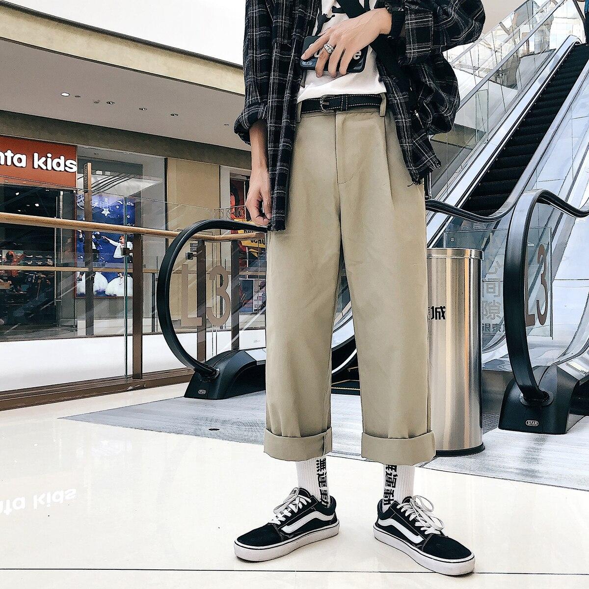 2018 original ญี่ปุ่นแฟชั่นบุคลิกภาพสีทึบหลวมขากว้างกางเกงกางเกงผู้ชายสบายๆกางเกง apricot/สีดำขนาด M 2XL-ใน กางเกงลำลอง จาก เสื้อผ้าผู้ชาย บน AliExpress - 11.11_สิบเอ็ด สิบเอ็ดวันคนโสด 1