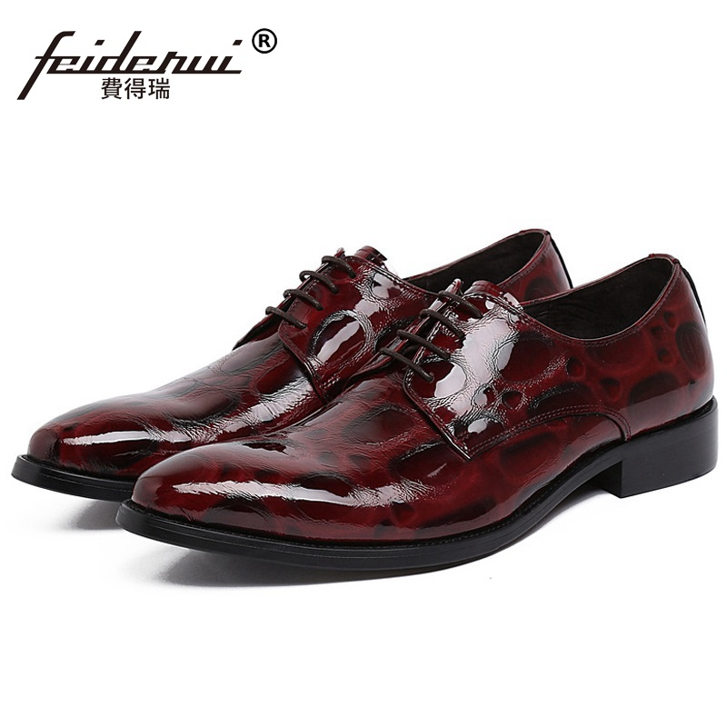 Italian Designer Man Formal Dress Party Shoes Patent Leather Wedding Oxfords Pointed Toe Derby Luxury Men's Bridal Flats FK42 fashion top brand italian designer mens wedding shoes men polish patent leather luxury dress shoes man flats for business 2016