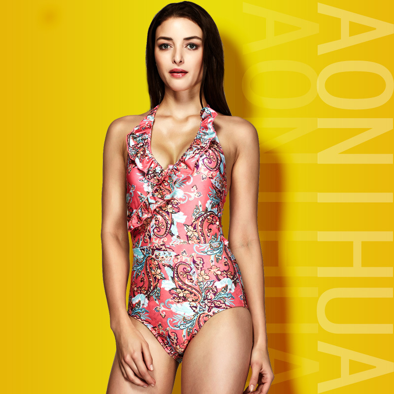 NOWCOS Store 2017 New One Piece Swimsuit Sexy Cut out Swimwear swimming suit for women Bodysuit Bathing Suit Vintage Beach Wear Print Bandage