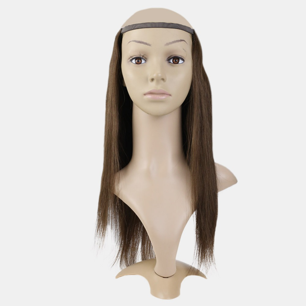 Full Shine U Part Wig Extensions Straight Hair 100% Remy Hair  Clip In One Piece Extensions  #4 Dark Brown Solid Color Half Wig