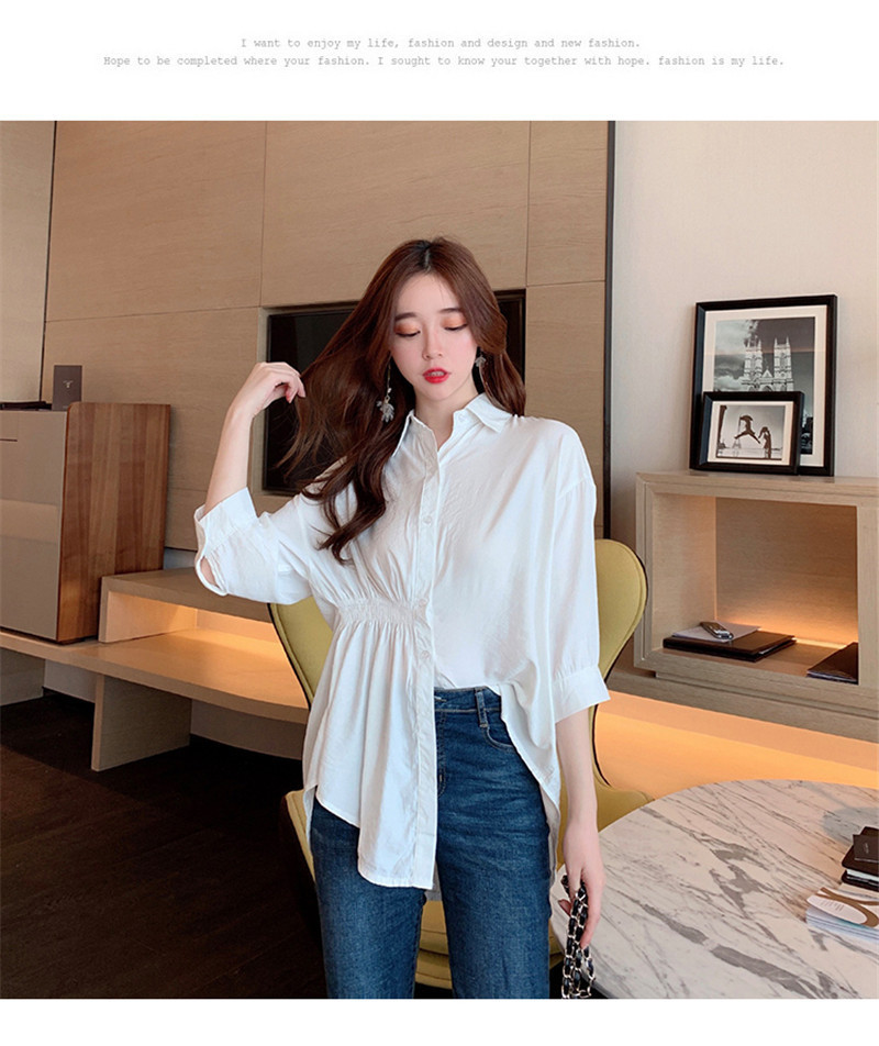 2019 Summer New Korean Version Of The Wild Long Paragraph 7 Points Sleeves Waist Loose Thin Temperament White Shirt Women (2)