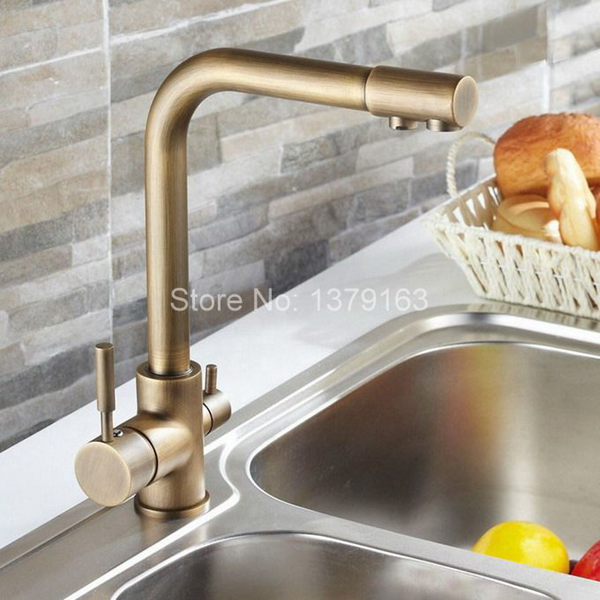 Luxury Vintage Retro Antique Brass two Levers 3-Way Water Filter Tap Kitchen Sink Faucet Mixer asf010 sephora vintage filter палетка теней vintage filter палетка теней