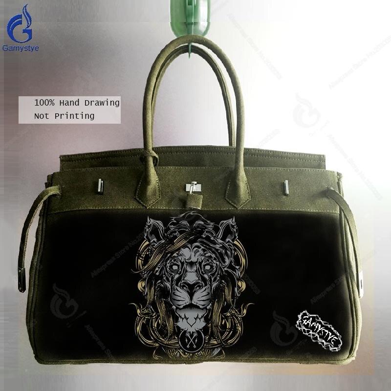 Crossbody Bags For Men Handbag Vintage Shoulder Bag 45cm Large Capacity Canvas Satchel Art Handpainted Lion Design Casual Bolsas stylish metal and canvas design satchel for women
