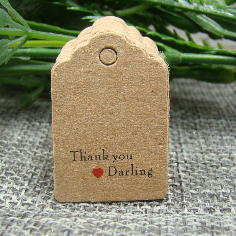Оптовая продажа гребешок 3*2 см крафт-бумаги подарок тег 100 шт. в партии спасибо моя дорогая бирка для свадьбы/ конфеты/коробка/подарок украшения