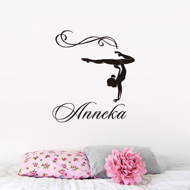 Gymnastic Girl Wall Stickers For Living Room Personalized Name Vinyl ...