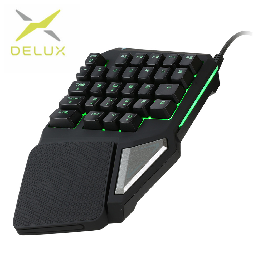 Delux gaming keyboard T9 Pro wired Professional gaming mini keyboard 7 Color Backlit Single Hand 30-keys Ergonomic Keypad