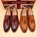 Borla de La manera Británica Tallada Alta Calidad de LA PU Para Hombre Brogue Zapatos En Punta de La Vendimia Bajo Resbalón de Los Hombres zapatos de Cuero Ocasionales