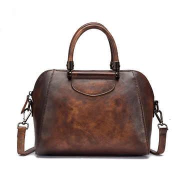 Women Messenger Shoulder Bags Pillow Handbag Genuine Leather Brush Color Vintage Female Tote Purse Cross Body Top Handle Bag - DISCOUNT ITEM  32% OFF All Category