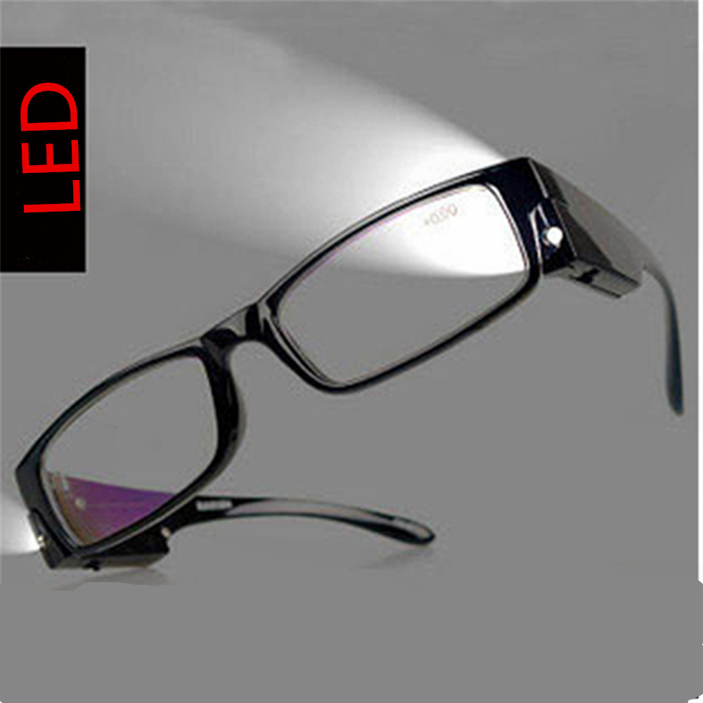 fashion reading glasses for parnents Multi Strength LED Reading Glasses Eyeglass Spectacle Diopter Magnifier Light UP for night image
