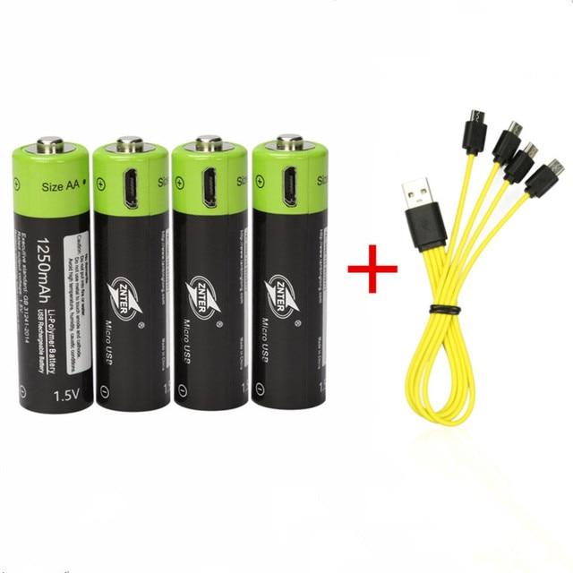 ZNTER 1.5 V AA Pin Có Thể Sạc Lại 1250 mAh USB Lithium Có Thể Sạc Lại Polymer Pin Sạc Nhanh bằng Cáp USB Micro