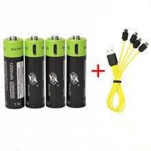 ZNTER 1,5 в AA перезаряжаемая батарея 1250 мАч USB перезаряжаемая литий-полимерная батарея Быстрая зарядка от Micro USB кабель