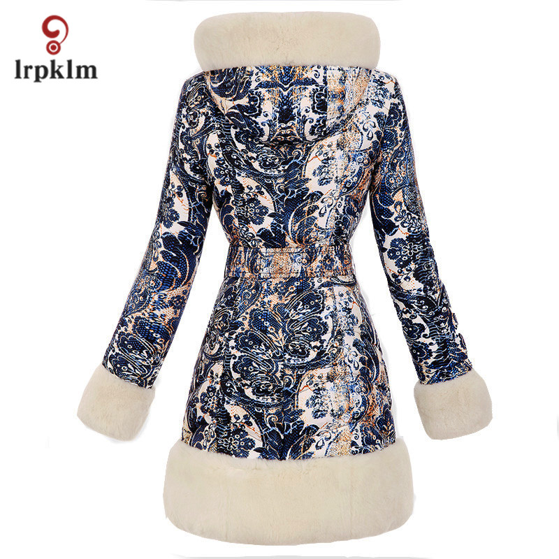 2017 Luxury New Fashion Women Winter Long   Down   Jackets With Fur Hooded Fur Sleeve Female Warm Duck   Down     Coat   Printing PQ134