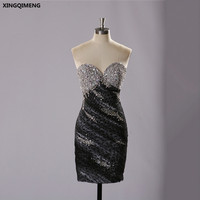 Sexy Sparkly Black Cocktail Dresses Elegant Short Cocktail Dress with Crystals Sequined Beaded Formal Dresses Short Prom Gowns