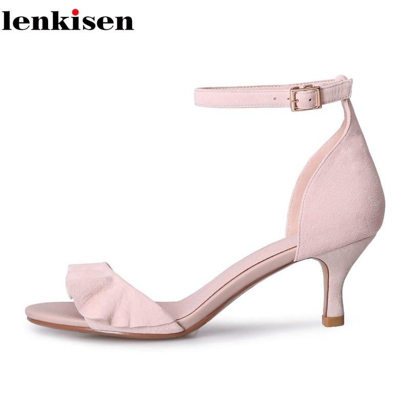 Lenkisen kid suede oryginalny design peep toe szpilki Stiletto męskie skóra naturalna buty kwiaty koronki eleganckie damskie sandały L17 w Wysokie obcasy od Buty na  Grupa 1