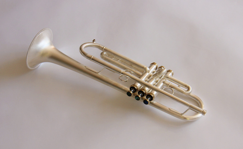 Professional Trumpet Bb Tone Matt Silver plated with case and mouthpiece musical instruments professional new genuine americano top bach trumpet gold and silver plated silver ab 190sbach small musical instruments professional