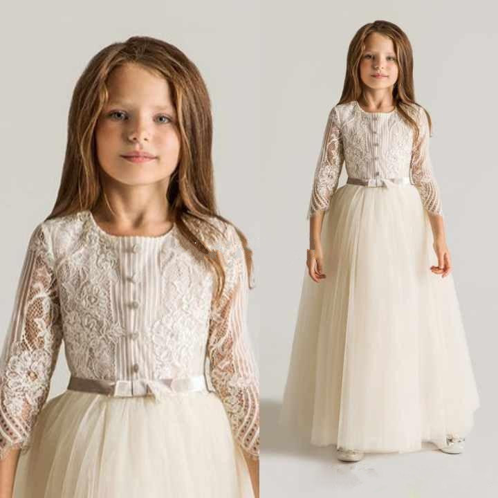 Lace Tulle   Flower     Girls     Dresses   For Wedding Long Sleeves Appliques Ruched First Communion Gowns Top Quality Custom Made Size