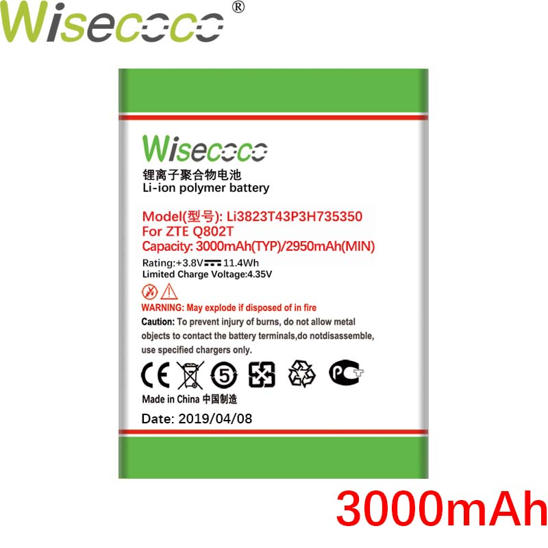 Wisecoco Li3823T43P3H735350 3000mAh New Battery For <font><b>ZTE</b></font> Q802T <font><b>Geek</b></font> <font><b>V975</b></font> U988S N986 V976 N976 High Quality battery image