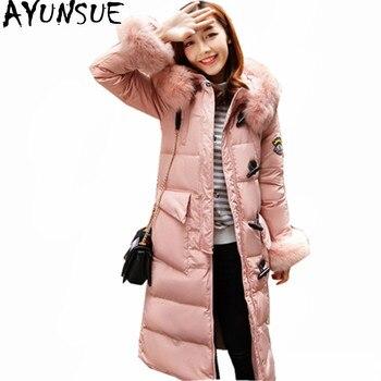 AYUNSUE Women's Winter Down Jackets Warm Fur Collar Hooded Ladies Coats Thick Women Parka Fashion Down Coat Abrigo Mujer WXF385