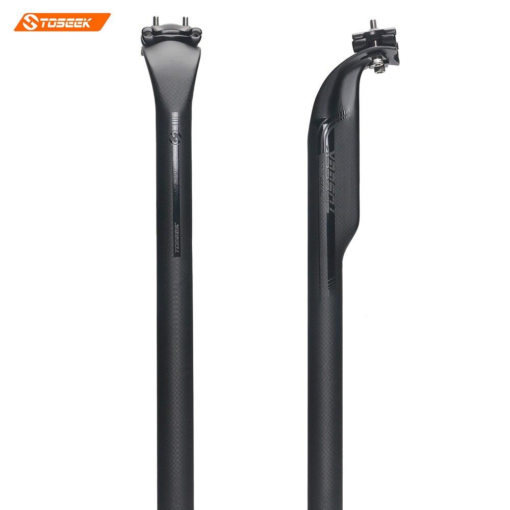TOSEEK Carbon Bicycle Seat post Adjustable Offset 50mm 27.2/31.6*400mm 3K Matte Road Bike carbon seat post  220g elitaone offset seat post carbon fiber