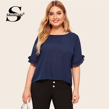 Sheinside Plus Size Navy Flounce Sleeve Chiffon Blouse Women 2019 Summer Short Sleeve Blouses Ladies Solid Minimalist Top