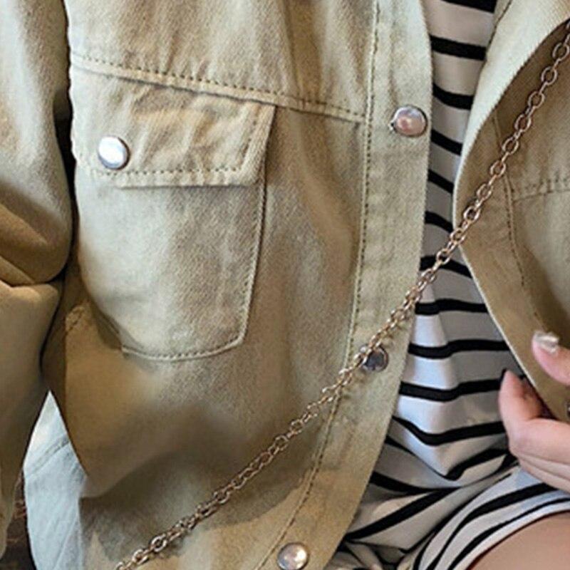 Denim Nouveau Hiver Outillage Automne Chemise Grande Solide Sauvage Rétro Femmes Manteau Étudiant Beige 2018 Couleur Veste Femelle Occasionnel Poche Lâche nEzTg