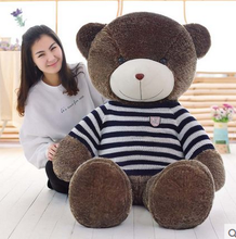 big plush round eyes blue and white stripes sweater teddy bear toy huge bear doll gift about 160cm
