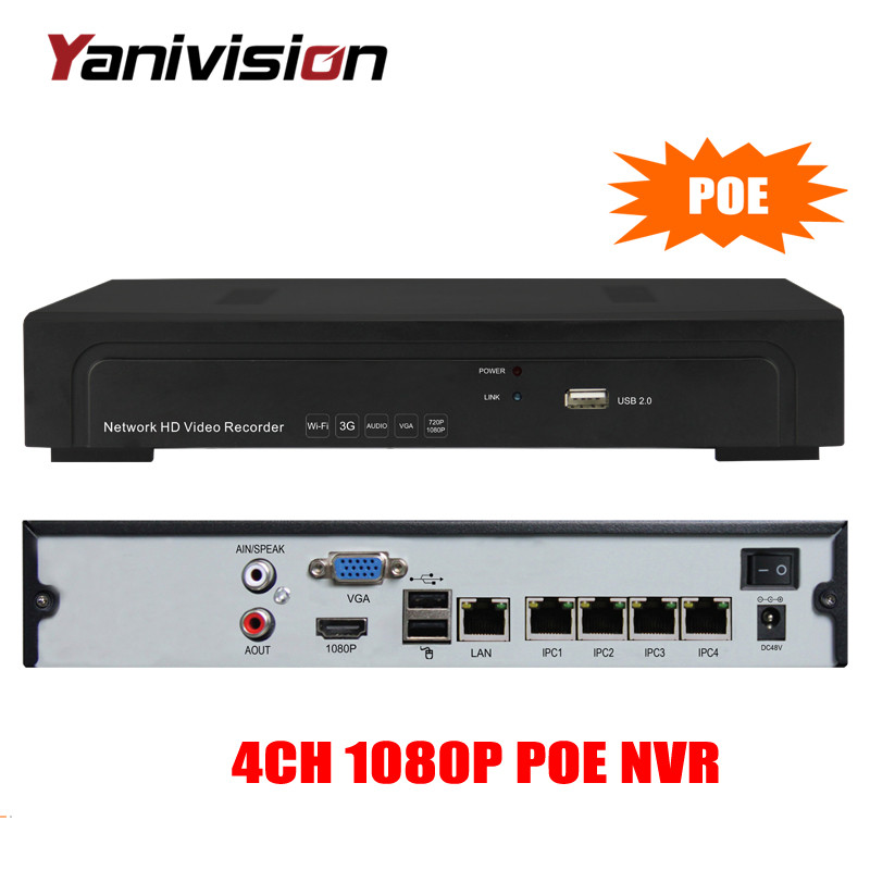 FULL HD 48V PoE NVR 4Channel 1080P IEEE802.3af Security NVR PoE Switch Inside ONVIF AEEYE 4CH PoE CCTV NVR 1080P hikvision 1080p cctv system onvif 4ch nvr ds 7604ni e1 4p economic poe nvr plug